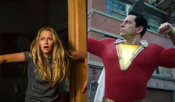 Lights Out Teresa Palmer holds the doorframe freaked out Shazam Zachary Levi flexes