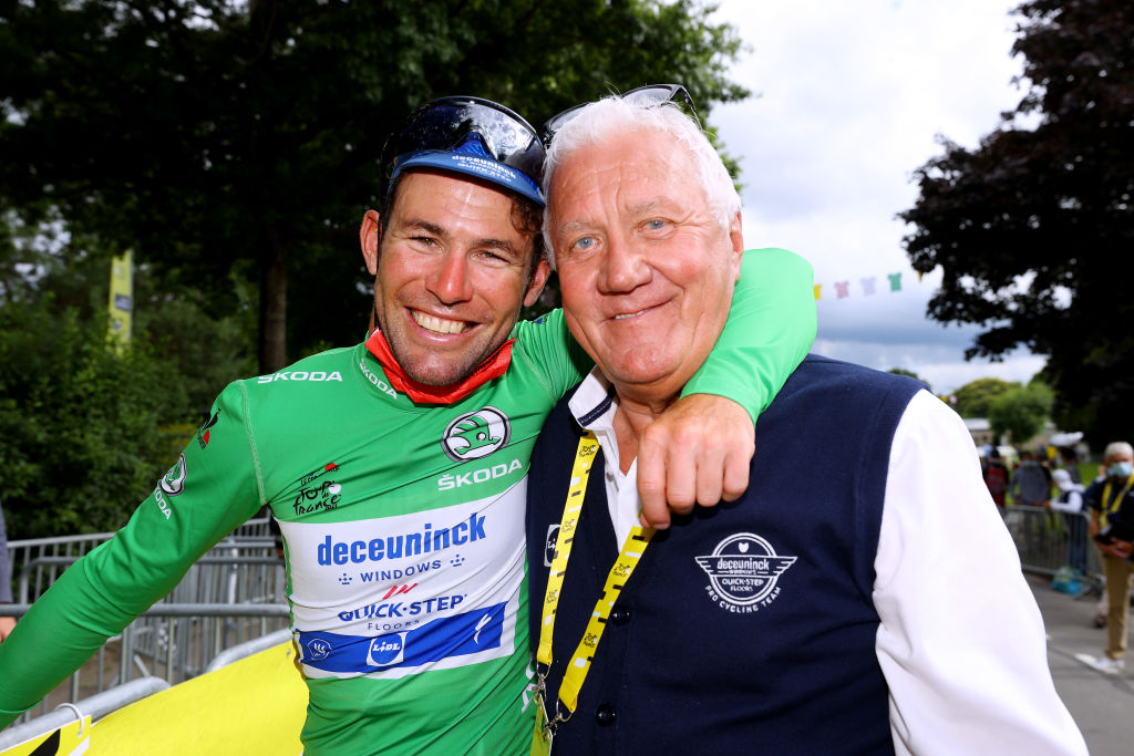 FOUGERES FRANCE JUNE 29 Mark Cavendish of The United Kingdom and Team Deceuninck QuickStep stage winner Green Points Jersey Patrick Lefevere of Belgium CEO Team manager of Deceuninck QuickStep celebrate at arrival during the 108th Tour de France 2021 Stage 4 a 1504km stage from Redon to Fougres LeTour TDF2021 on June 29 2021 in Fougeres France Photo by Tim de WaeleGetty Images