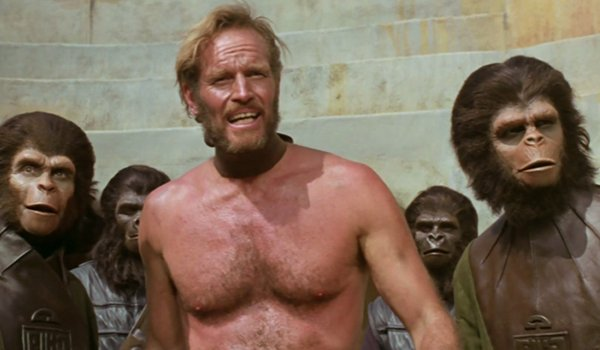 Charlton Heston as Taylor and Roddy McDowall as Cornelius in Planet Of The Apes