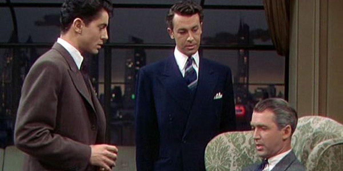 James Stewart, Farley Granger, and John Dall in Alfred Hitchcock's Rope