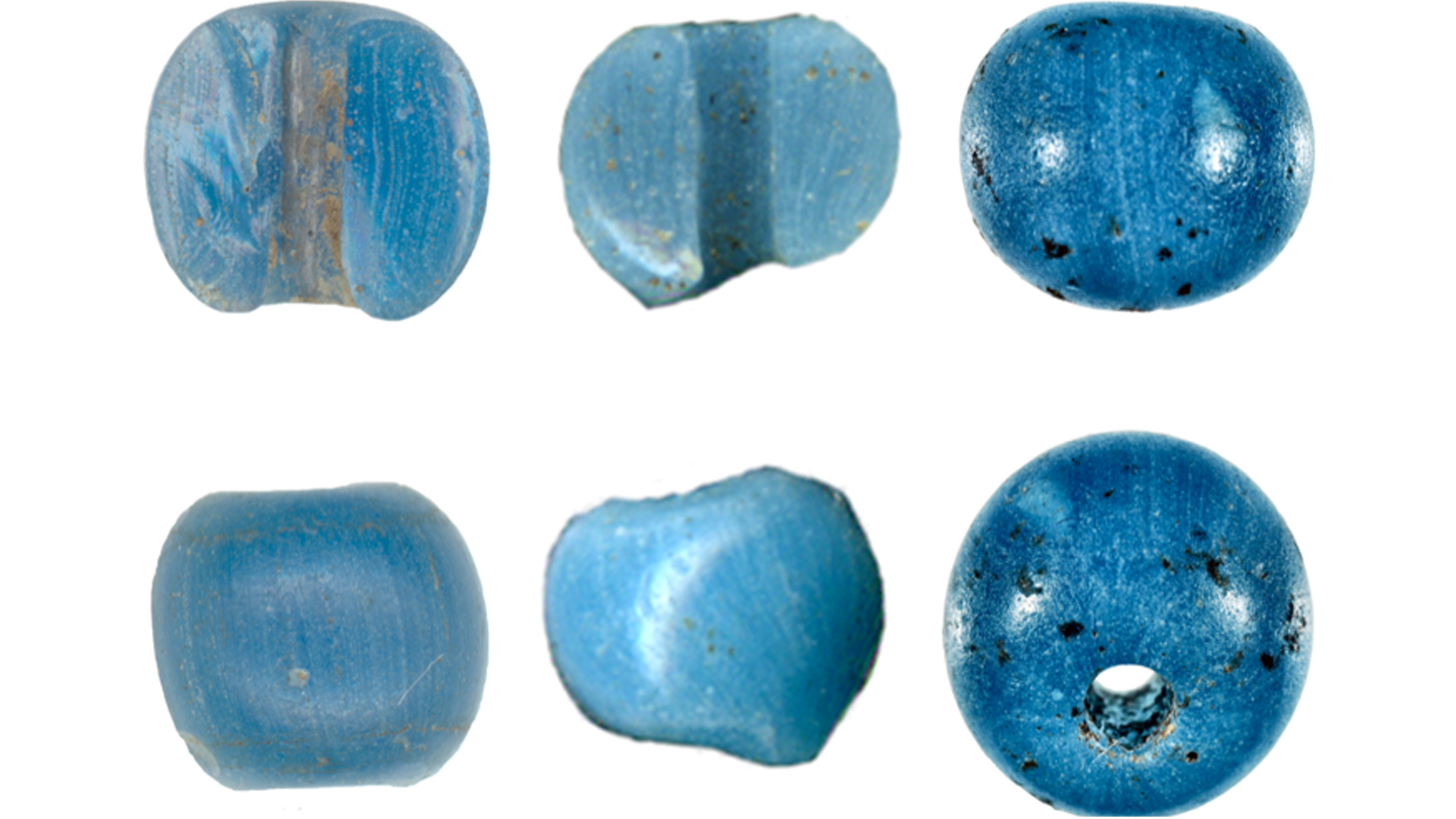 These three beads (each shown from two angles), were found by Lake Kaiyak (left), Kinyiksugvik Lake (center) and Punyik Point in Alaska.