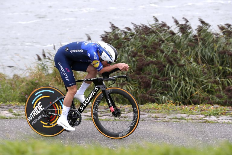 Remco Evenepoel riding the time trial on stage two of the Benelux Tour