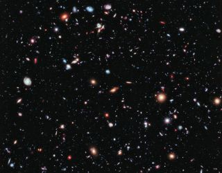 (This image is a compilation of 10 years of snapshots by the Hubble Space Telescope, showing one small patch of space in the constellation Fornax.)