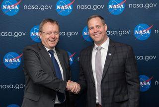 ESA Director-General Jan Woerner and NASA Administrator Jim Bridenstine seen in April 2019.