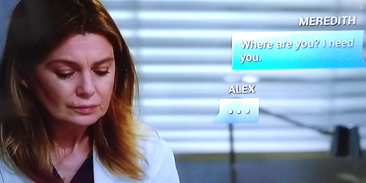 Grey's Anatomy Season 16 Meredith texting Alex ABC