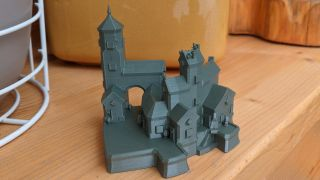 A 3D print of a small townscaper village