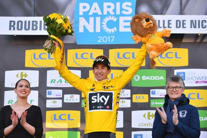 Sergio Henao (Sky) in the yellow jersey at Paris-Nice.