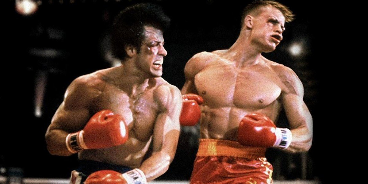 Rocky Balboa (Sylvester Stallone) puches out Ivan Drago (Dolph Lundgren) in the ring in Rocky IV (1985)