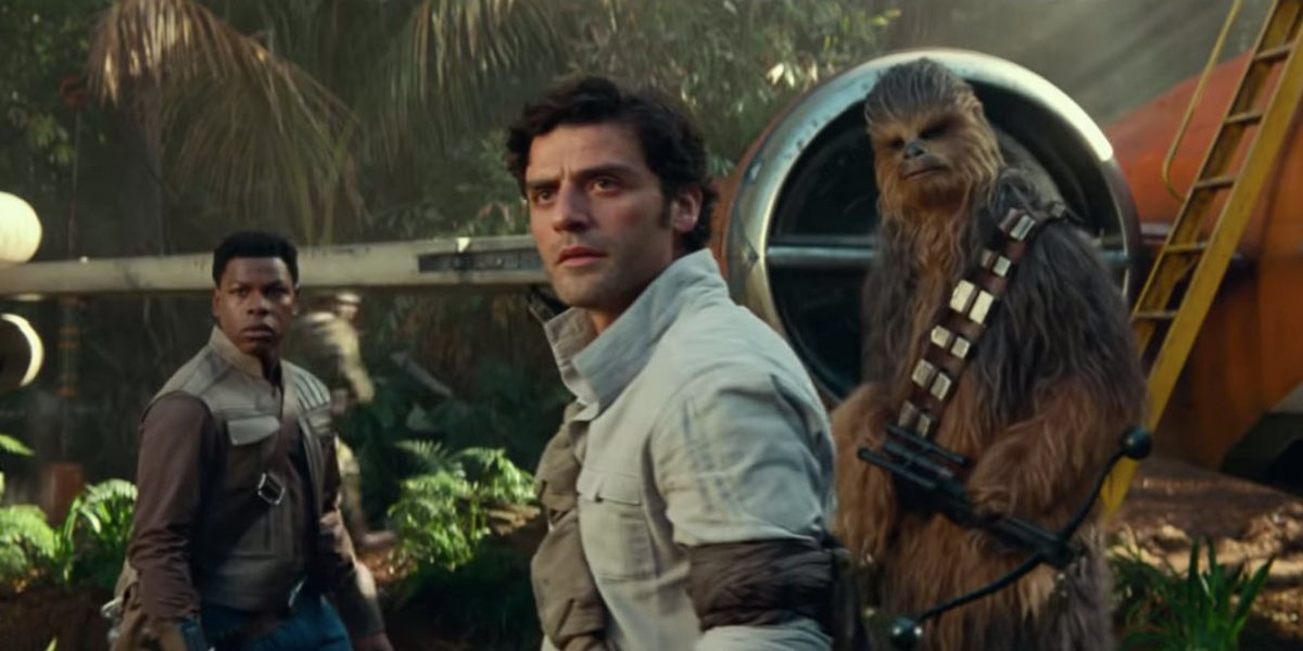 Star Wars: The Rise of Skywalker Finn, Poe, and Chewbacca in front of an X-Wing, in a tropical jungl