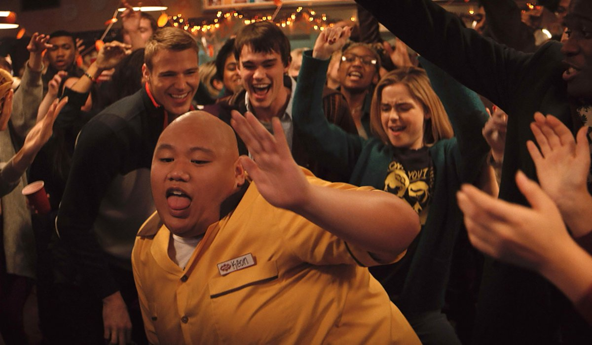 Let It Snow Jacob Batalon dances in the middle of a cheering crowd