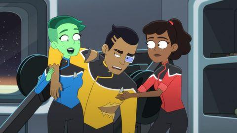 Tendi, Rutherford, and Mariner in 'Star Trek: Lower Decks'.