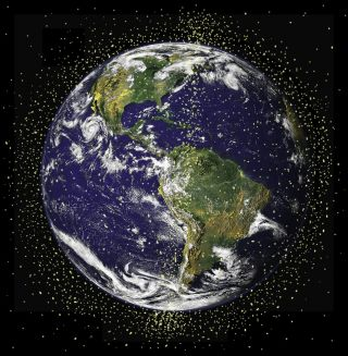 An artist's depiction of satellites orbiting Earth.
