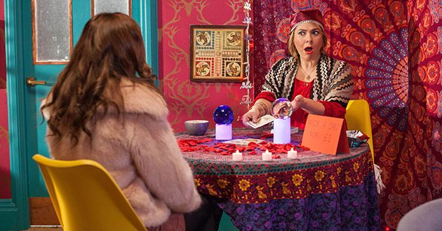 Myra McQueen pretends to read Maxine Miniver her future, but will Maxine catch her out in Hollyoaks