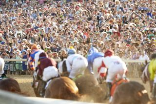 Spectators watching the Kentucky Derby in 2016.