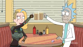 Clone Beth and Rick in an image from Rick and Morty season 4