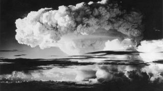 On April 1, 1954, he first H-bomb explosion went off at Eniwetok Atoll in the Pacific.