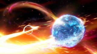 An artist's visualization of a neutron star that is about to collide with a black hole.