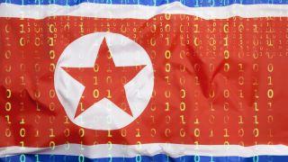 north korea flag and computer code