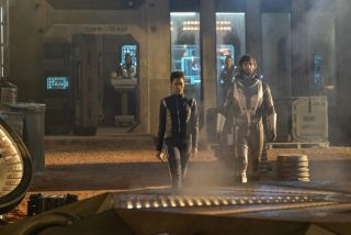 "Spock (Ethan Peck) escorts Burnham (Sonequa Martin-Green) to the epicenter of a dangerous plan in the ""Star Trek: Discovery"" episode ""The Red Angel."""