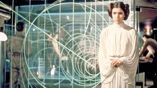 "When Leia's political importance is being emphasized in the original ""Star Wars"" trilogy, she's shown in a loose, floor-length gown with her hair pinned up."