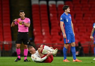 Harry Maguire was sent off in the first half of England's Nations League defeat to Denmark.