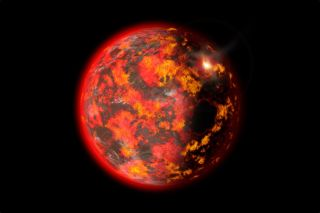 An illustration of a fiery, early Earth.