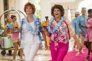 Kristen Wiig and Annie Mumolo in still from Barb & Star Go To Vista Del Mar.