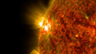 An active region on the surface of the sun can be seen here releasing a solar flare. The image comes from NASA's Solar Dynamics Observatory.