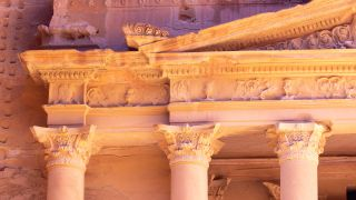 Detail from the ancient city of Petra in Jordan.