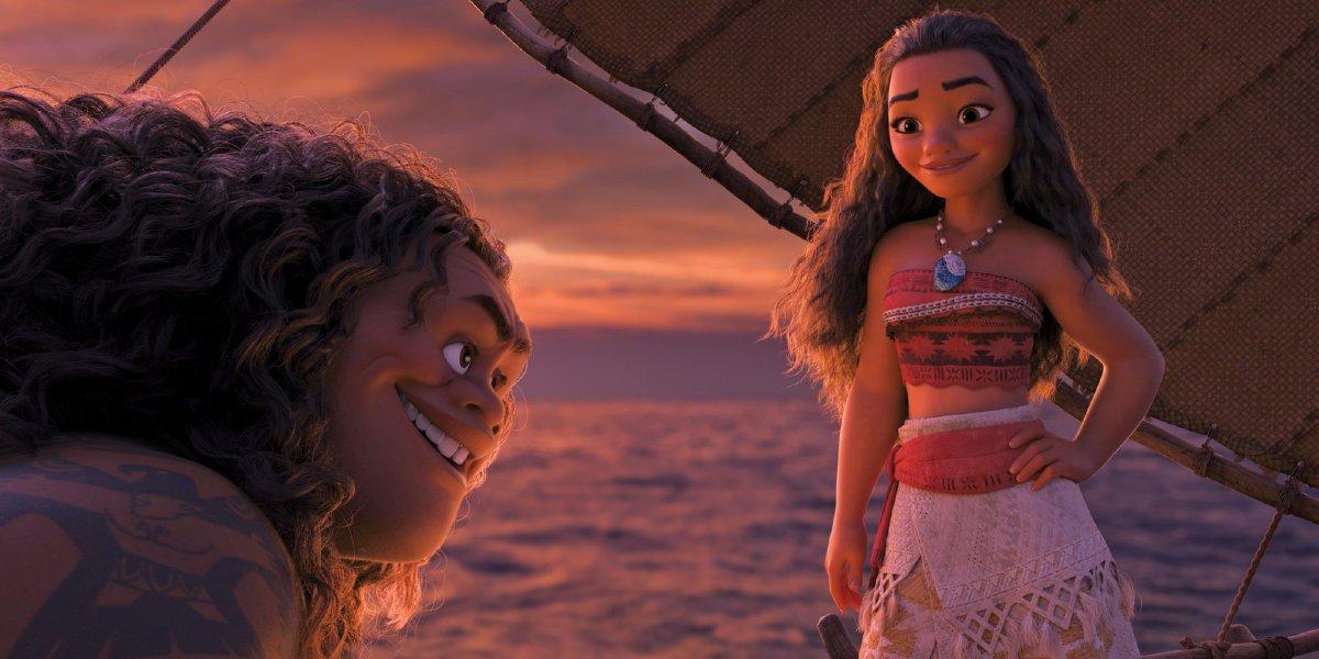 Maui (Dwayne Johnson) and Moana (Auli'i Cravalho) in Moana