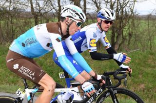 AG2R La Mondiale's Romain Bardet chats to Deceuninck-QuickStep's Yves Lampaert at the 2020 Paris-Nice