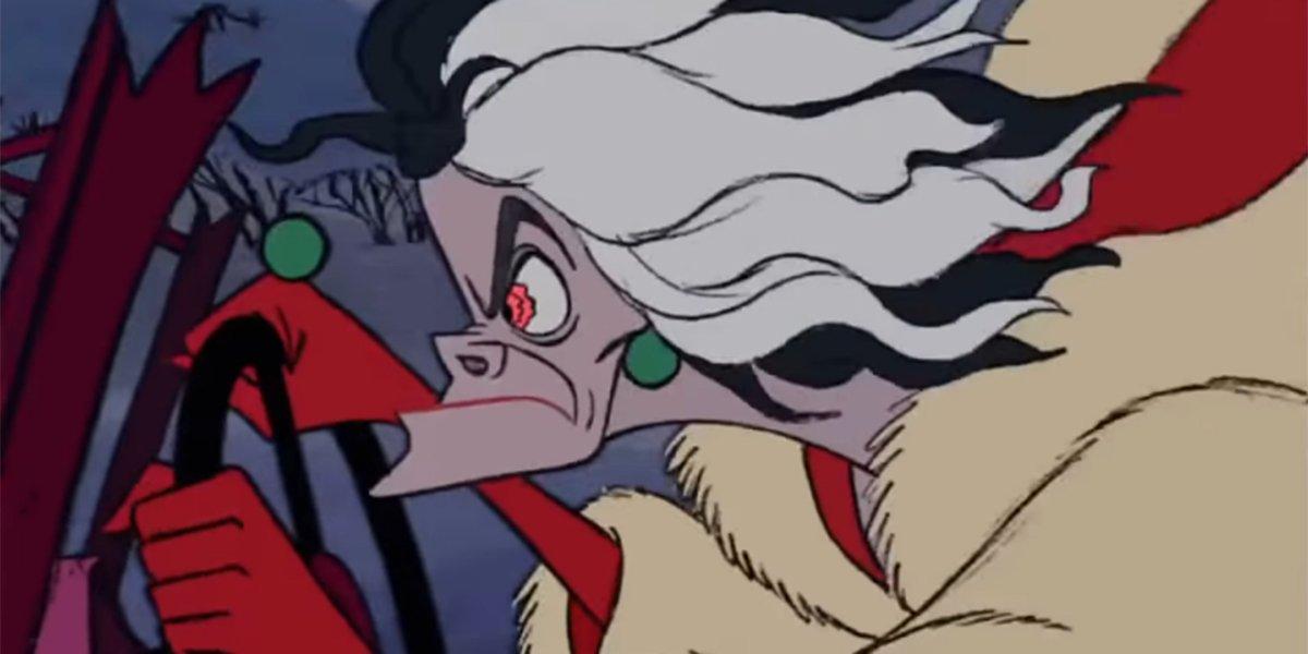 Cruella driving in a fit of rage