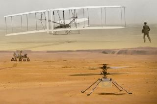 NASA's Ingenuity Mars helicopter will attempt to be the first powered aircraft to take flight on another planet carrying with it a piece of fabric from the Wright brothers' 1903 Flyer, the first successful heavier-than-air powered aircraft.