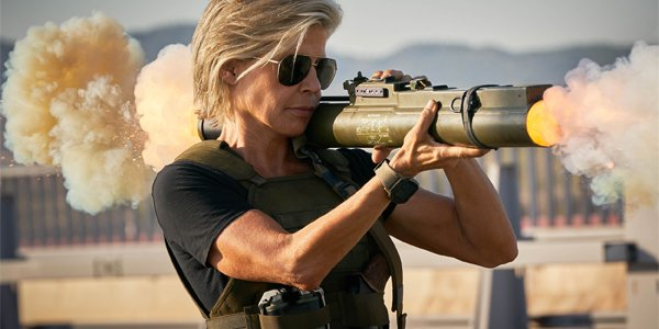 Sarah Connor (Linda Hamilton) firing a grenade launcher in Terminator Dark Fate