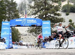UAE Team Emirates' Tadej Pogacar beats Sergio Higuita (EF Education First) on Mount Baldy to win stage 6 of the 2019 Tour of California
