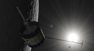 Illustration ISEE-3 Spacecraft Near the Moon
