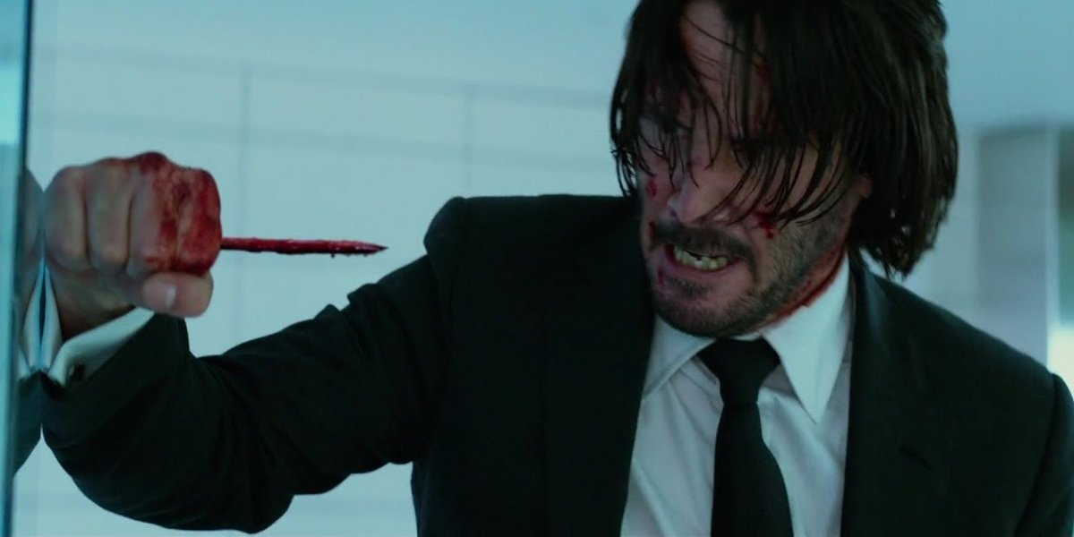 John Wick with bloody pencil