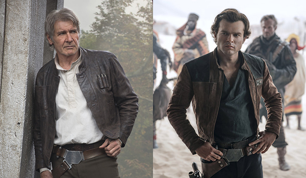 Han Solo as played by Alden Ehrenreich and Harrison Ford