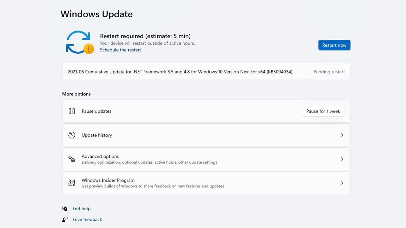 A Windows 11 Update Panel Showing The Estimated Time To Download And Install An Update