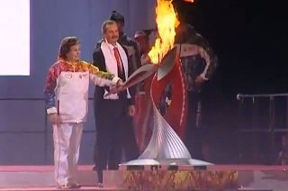 Tereshkova Lights Olympic Torch