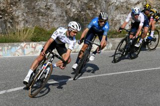Julian Alaphilippe in the chasing group behind Pogacar and Masnada in Il Lombardia