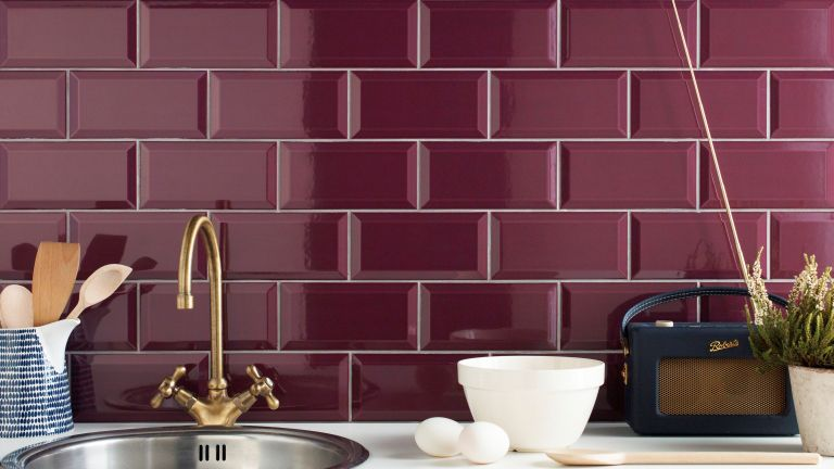 Plum tiles on kitchen splashback by Tile Mountain