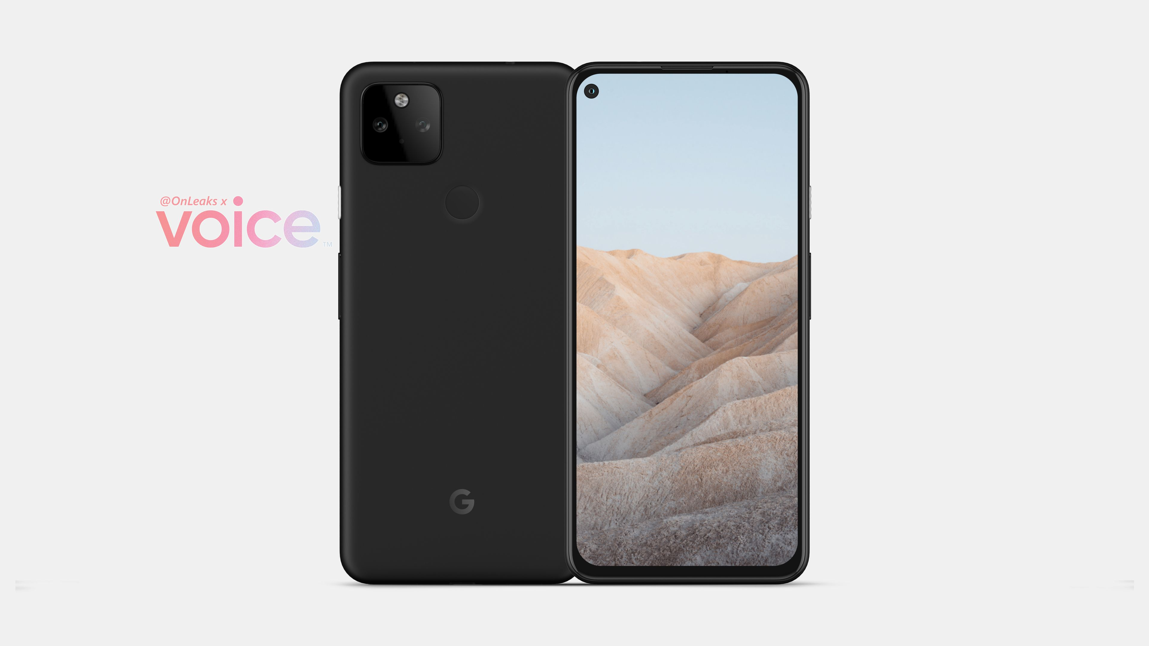 Google Pixel 5a front and back side by side