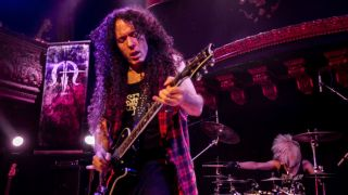 Marty Friedman and drummer Chargeeeeee perform at Great American Music Hall on September 29, 2015 in San Francisco, California