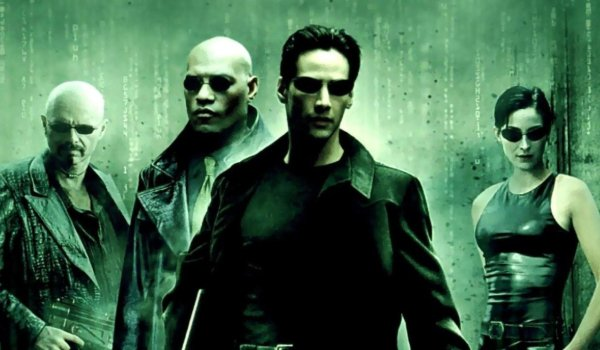 The Matrix cast standings in a line-up, with a green code filter