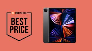 iPad Pro 12.9-inch M1 2021 model on pink background, with a 'best price' banner