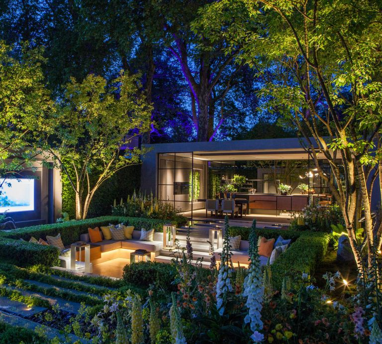roost episode 3 - a garden from Chelsea Flower Show with lighting and outdoor seated area - Pic-credit-John-Cullen-Lighting