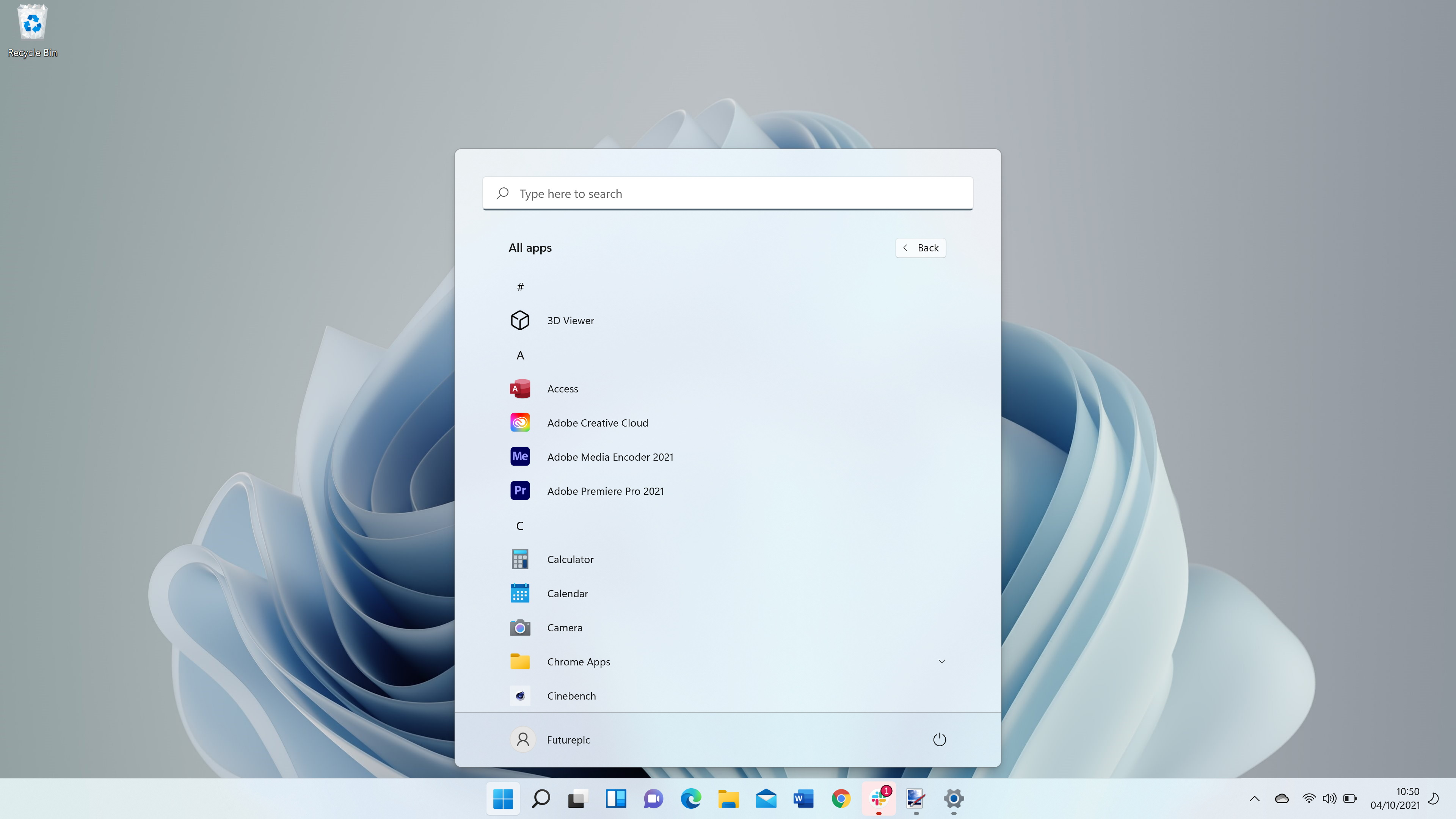 Windows 11 screenshot showing Start menu