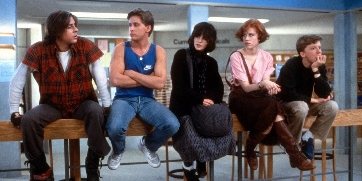 olly Ringwald, Anthony Michael Hall, Emilio Estevez, Judd Nelson, and Ally Sheedy in The Breakfast C
