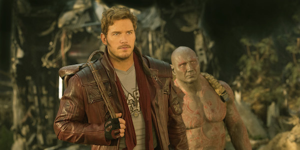 Peter Quill and Drax carrying backpacks in Guardians of the Galaxy Vol. 2